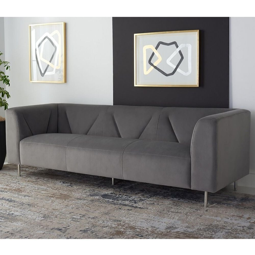 Safavieh Starfire Sofa in Grey Velvet and Silver, , large