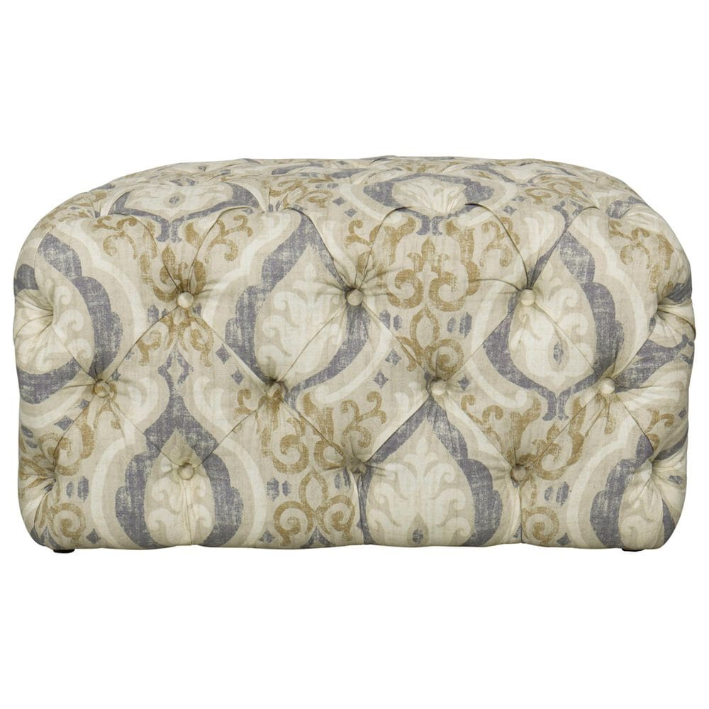 Kinfine Large Square Ottoman in Tan and Blue, , large