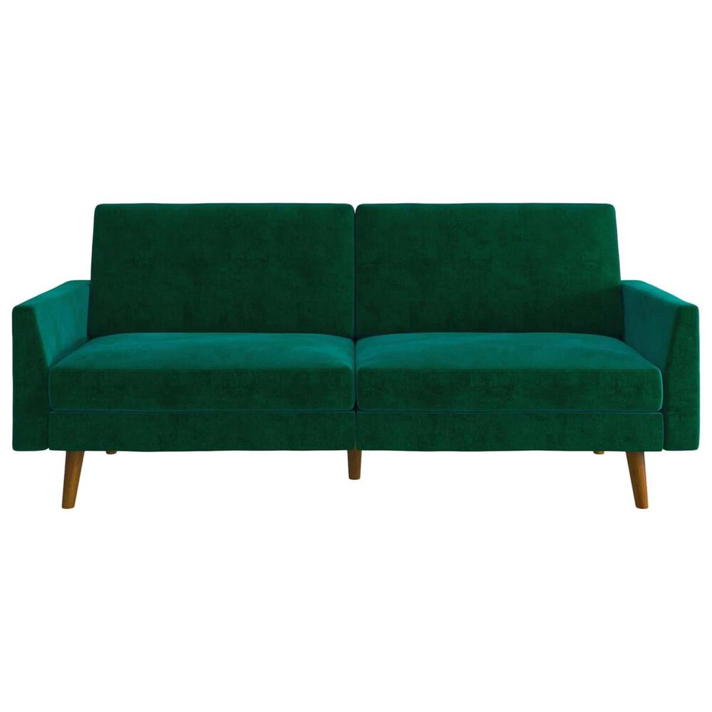 DHP Jena Convertible Sofa with Coils in Green Velvet, , large