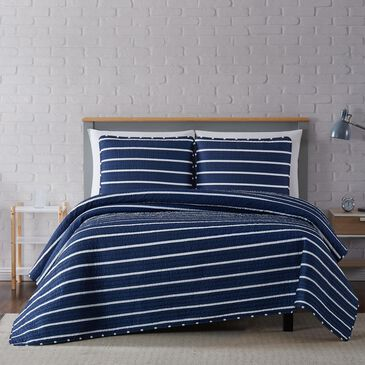 Pem America Truly Soft Maddow 3-Piece Full/Queen Quilt Set in Navy, , large