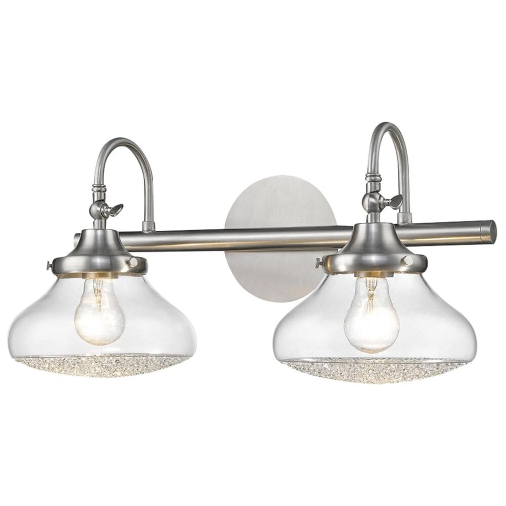 Golden Lighting Asha 2-Light Bath Vanity in Pewter with Crushed Crystal Glass, , large