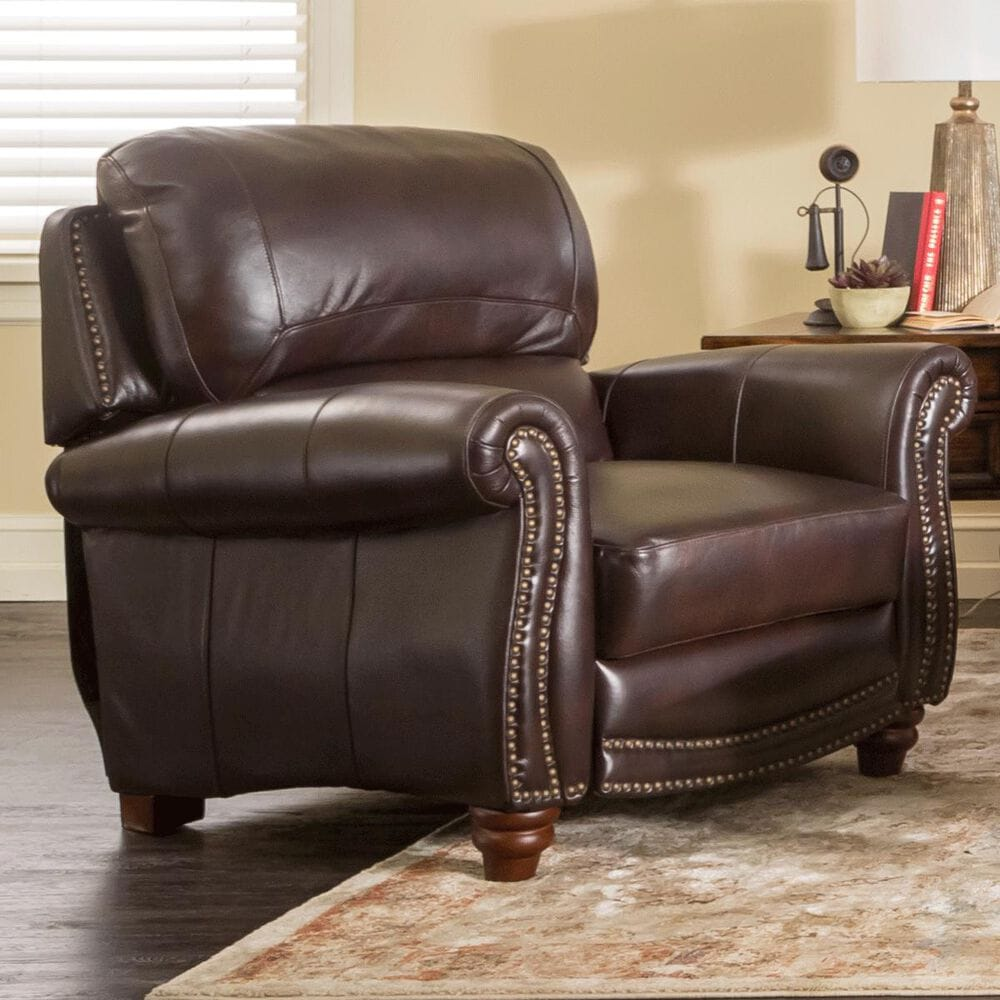 Nineteen37 James Leather Push Back Recliner in Tobacco, , large