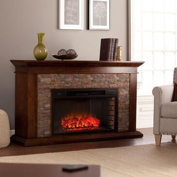 Southern Enterprises Ascrick Electric Fireplace in Whiskey Maple/Durango Faux Stone, , large