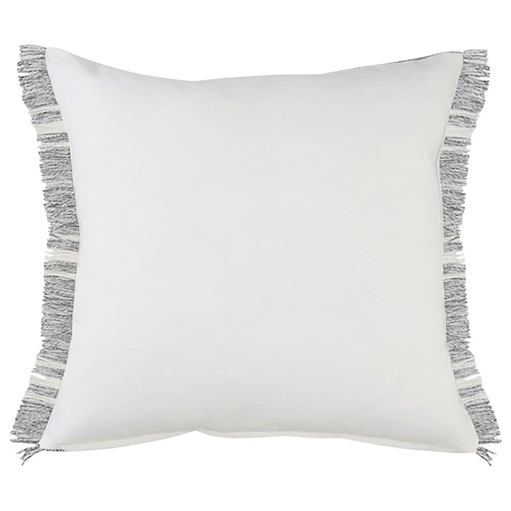"""L.R. RESOURCES 24"""" x 24"""" Stripe Outdoor Throw Pillow with Fringe in Gray and White, , large"""