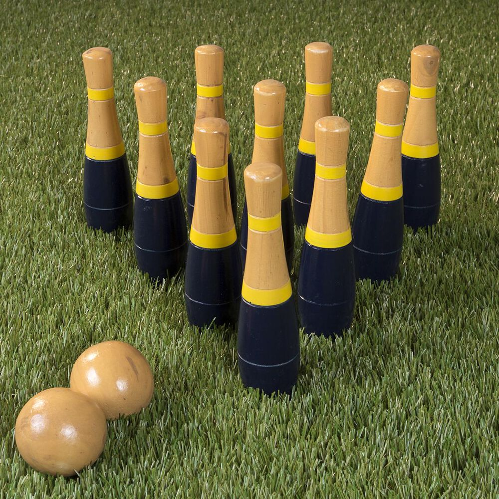 Timberlake Hey! Play! Lawn Bowling Blue and Gold Wooden Lawn Game, , large