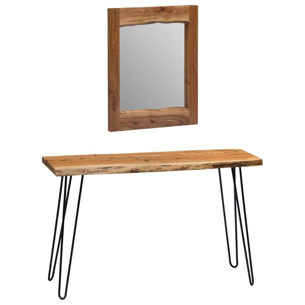 """Bolton Furniture Hairpin Console Table and 24"""" Mirror in Natural, , large"""