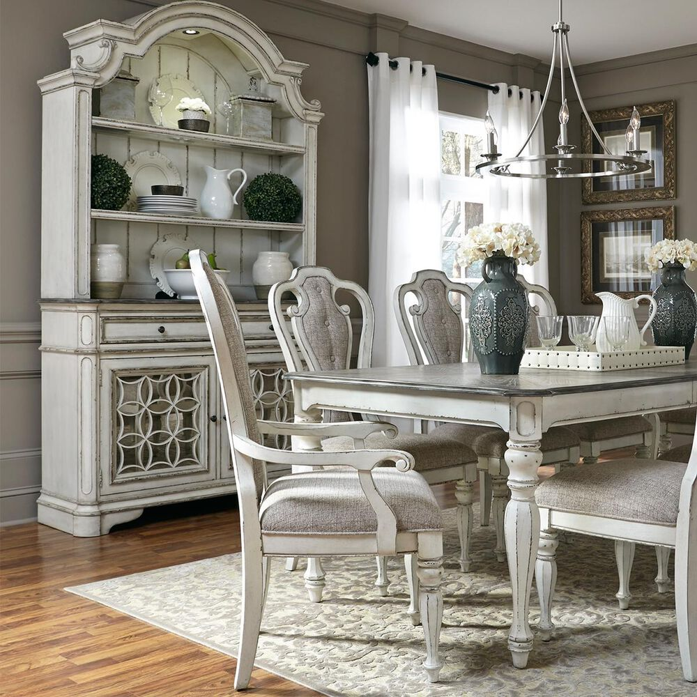 Belle Furnishings Magnolia Manor Buffet with Hutch in Antique White, , large