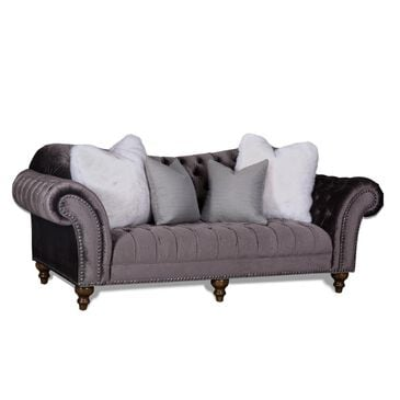 Aria Designs Lorraine Traditional Sofa in Gray Velvet, , large
