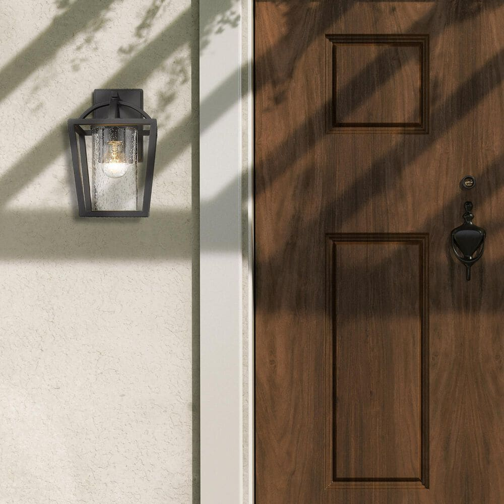 Golden Lighting Mercer Outdoor Medium Wall Sconce in Natural Black with Seeded Glass, , large