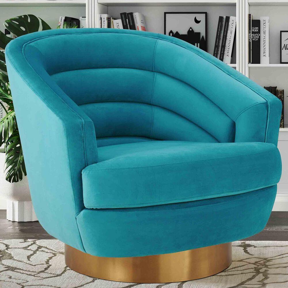 Tov Furniture Canyon Swivel Chair in Blue Velvet, , large