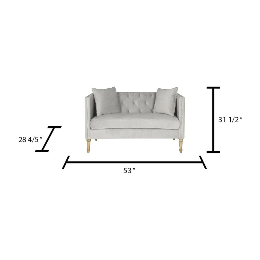 Safavieh Sarah Tufted Settee with Pillows in Grey, , large