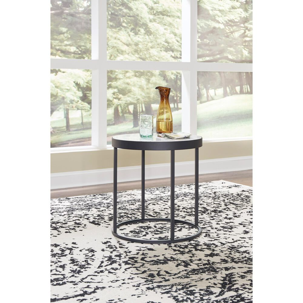 Signature Design by Ashley Windron End Table in Black and White Marble, , large