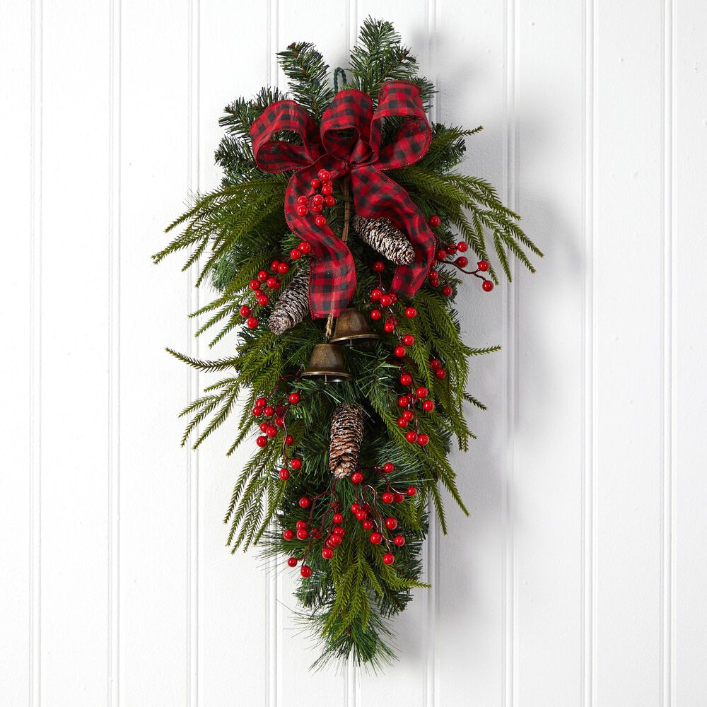 Nearly Natural Inc 24in. Holiday Christmas Pine Cones, Berry and Bells Swag, , large