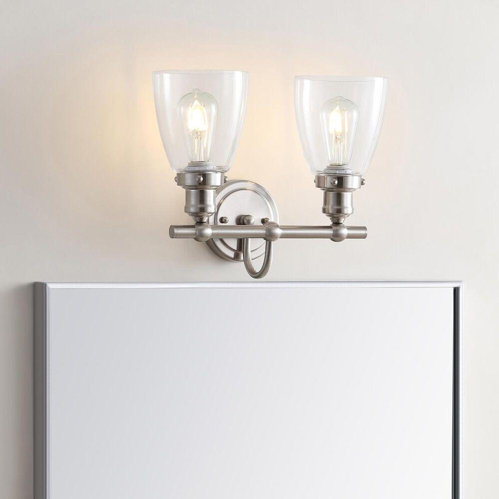 Safavieh Layton 2-Light Bathroom Sconce in Brush Nickel/Clear, , large