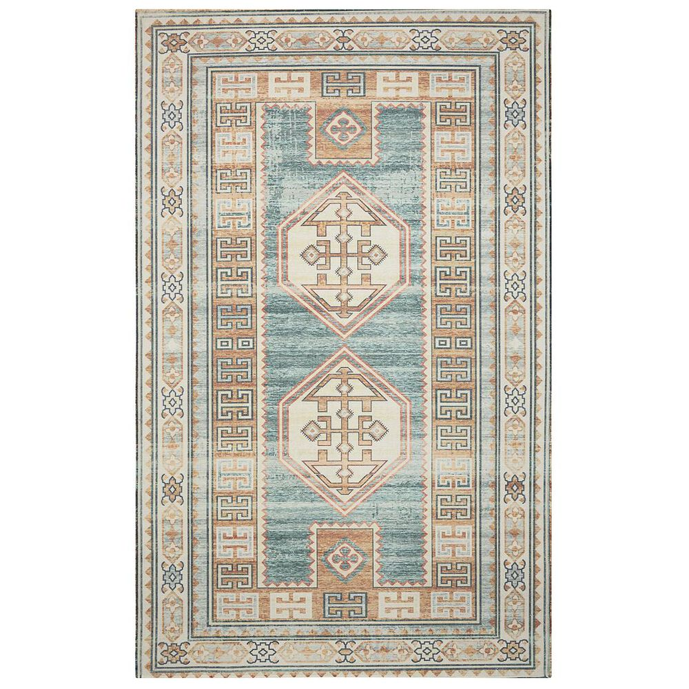 """Nourison Madera MAD04 7""""10"""" x 10"""" Teal Green Area Rug, , large"""