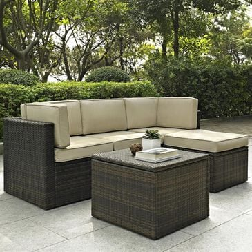 Crosley Furniture Palm Harbor 5-Piece Outdoor Wicker Sectional Set with Sand Cushions, , large