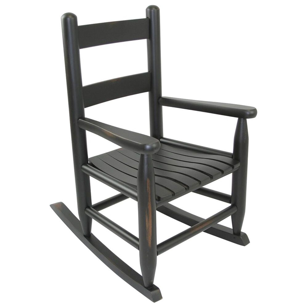 Lakeside Asheville Childs Rocking Chair in Woodleaf Black, , large