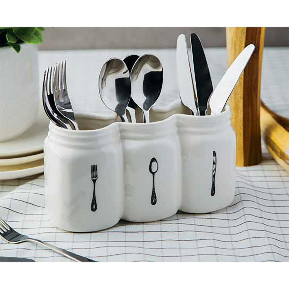 Home Essentials & Beyond 3-Section Mason Jar Utensil Caddy, , large
