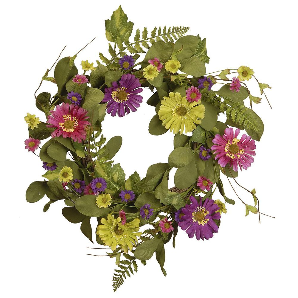 """National Tree 22"""" Spring Wreath with Gerbera Daisy, , large"""
