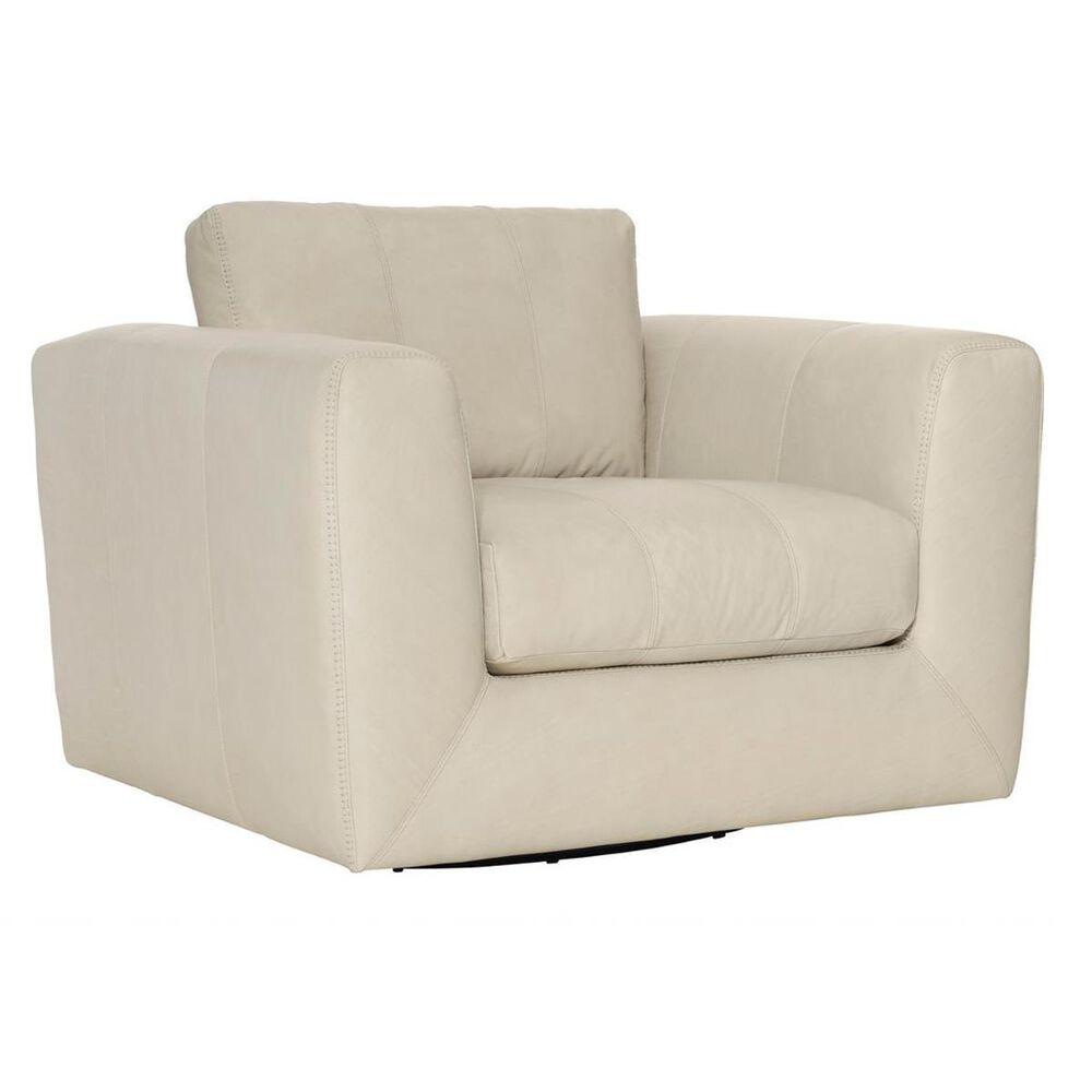 Bernhardt Remi Plush Leather Swivel Chair in Moon Dance White, , large