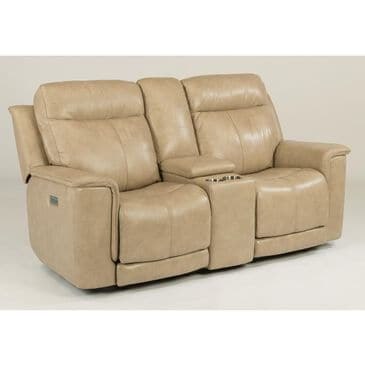 Flexsteel Miller Leather Power Reclining Loveseat with Console in Tan, , large