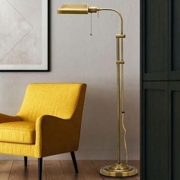 Cal Lighting Pharmacy Floor Lamp with Adjust Pole in Antique Brass, , large