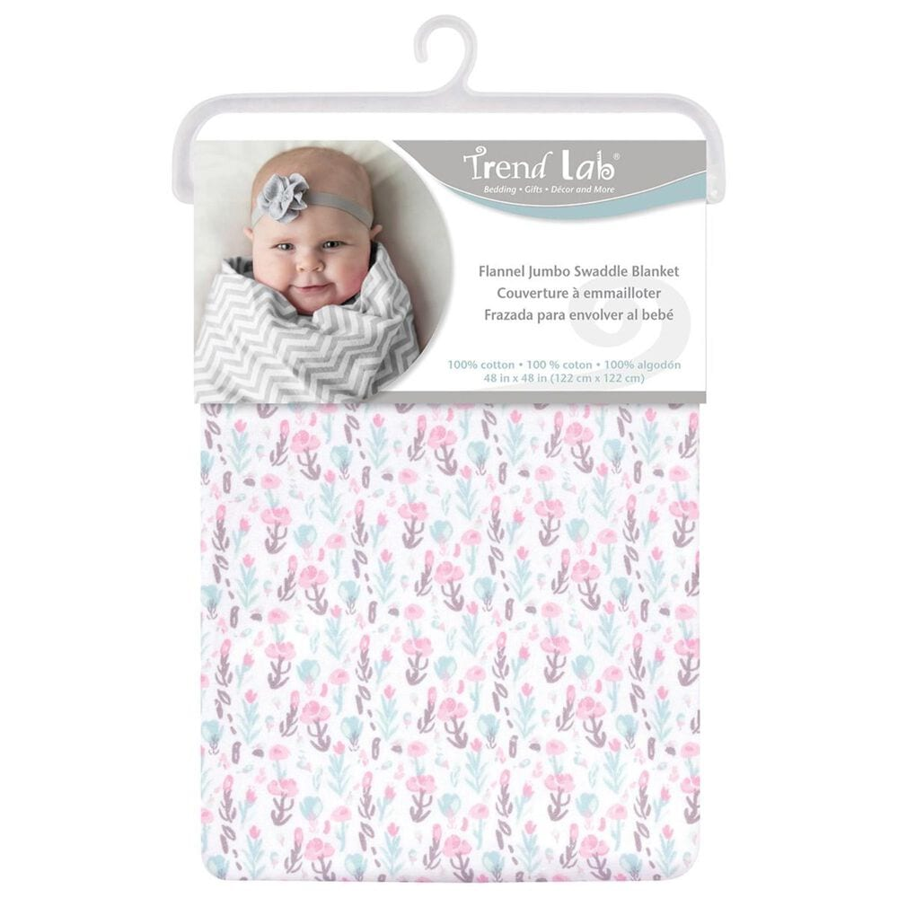 Trend Labs Painterly Floral Jumbo Deluxe Flannel Swaddle Blanket in Pink, , large