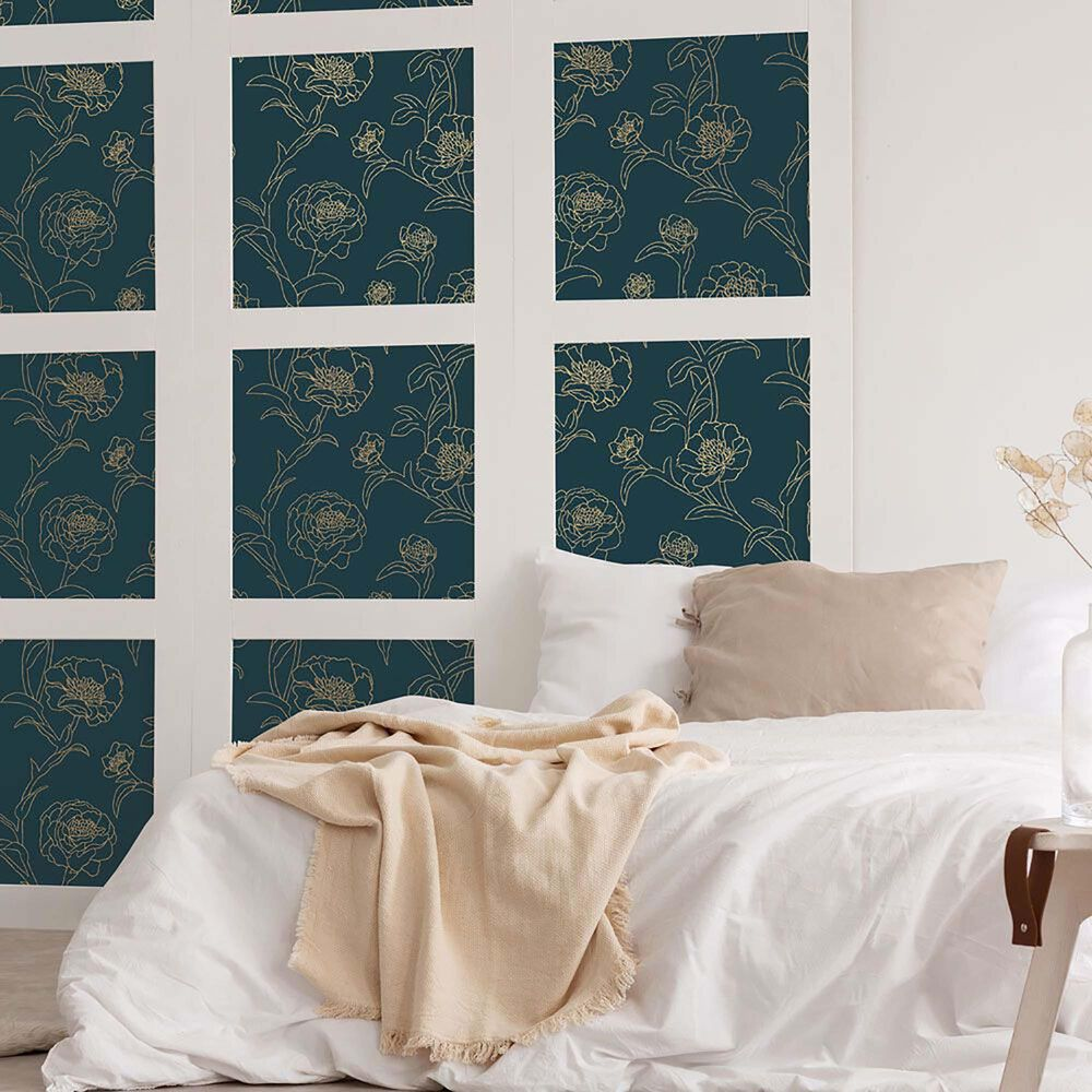 Tempaper 28 sq. ft. Peonies Peacock Blue & Metallic Gold Peel and Stick Wallpaper, , large