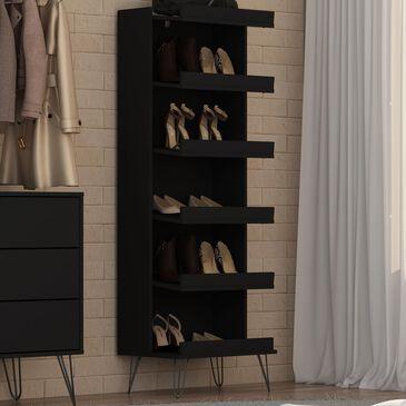 Dayton Rockefeller 6-Shelf Shoe Storage Rack in Black, , large