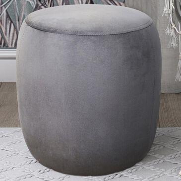 Tov Furniture Willow Velvet Ottoman in Grey, , large
