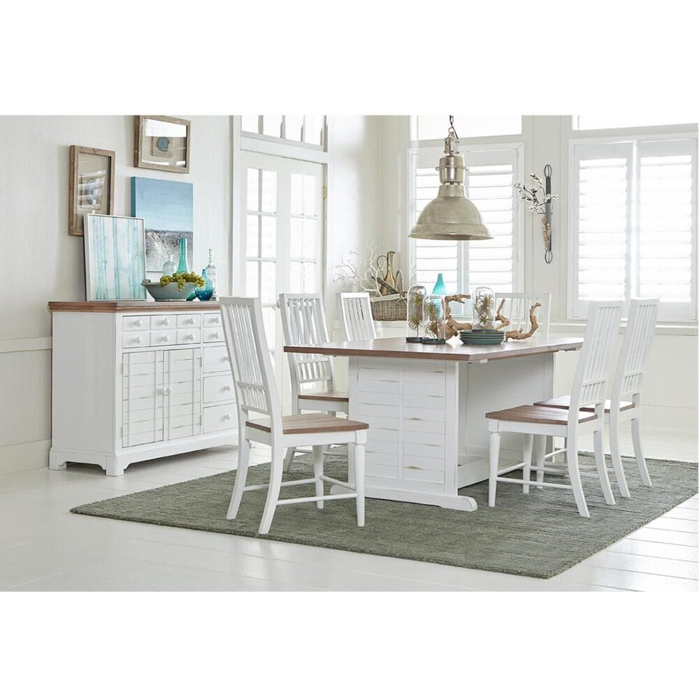 Tiddal Home Shutters Dining Table in Light Oak and Distressed White - Table Only, , large