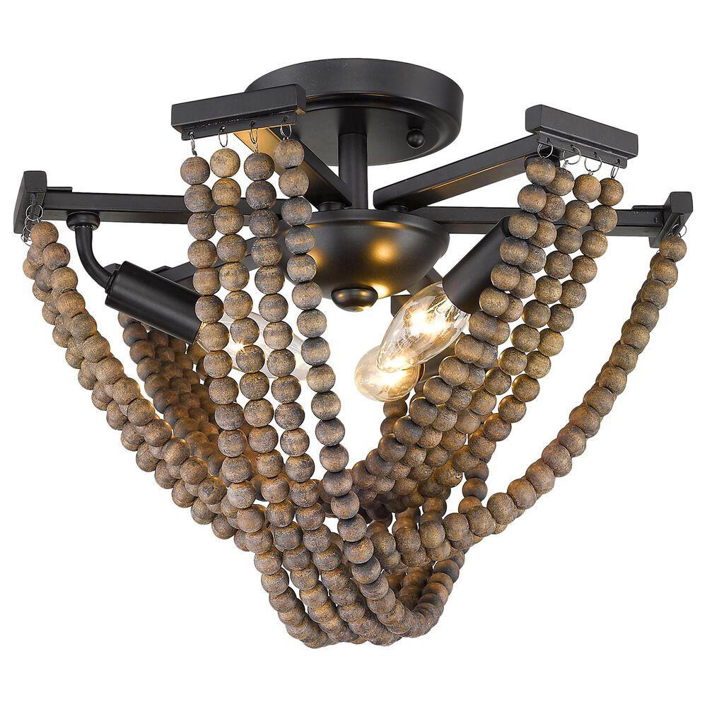 Golden Lighting Samba 3-Light Semi-Flush with Wooden Accent Beads in Matte Black, , large