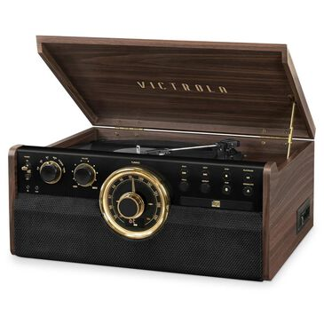 Victrola 6-in-1 Wood Bluetooth Mid Century Record Player with 3-Speed Turntable, CD, Cassette Player and Radio, , large