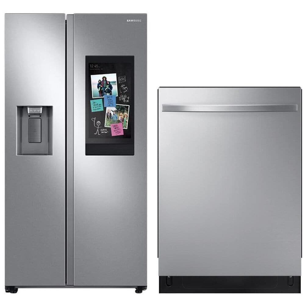 Samsung 2-Piece Kitchen Package 22 Cu. Ft. Side-by-Side Refrigerator and StormWash Dishwasher in Stainless Steel , , large