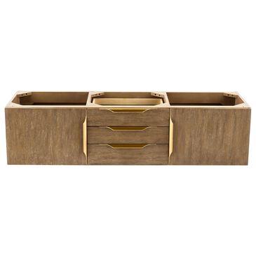 "James Martin Mercer Island 59"" Double Bathroom Vanity Cabinet in Latte Oak with Brushed Gold Hardware, , large"