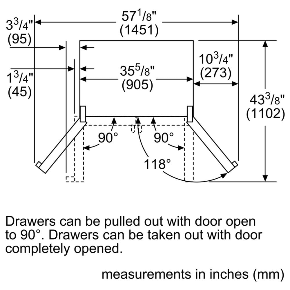 """Bosch 500 Series 36"""" Counter Depth French Door Bottom Mount Refrigerator in Stainless Steel , , large"""