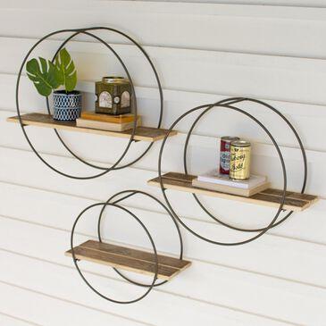 Kalalou Round Wood Shelves (Set of 3), , large