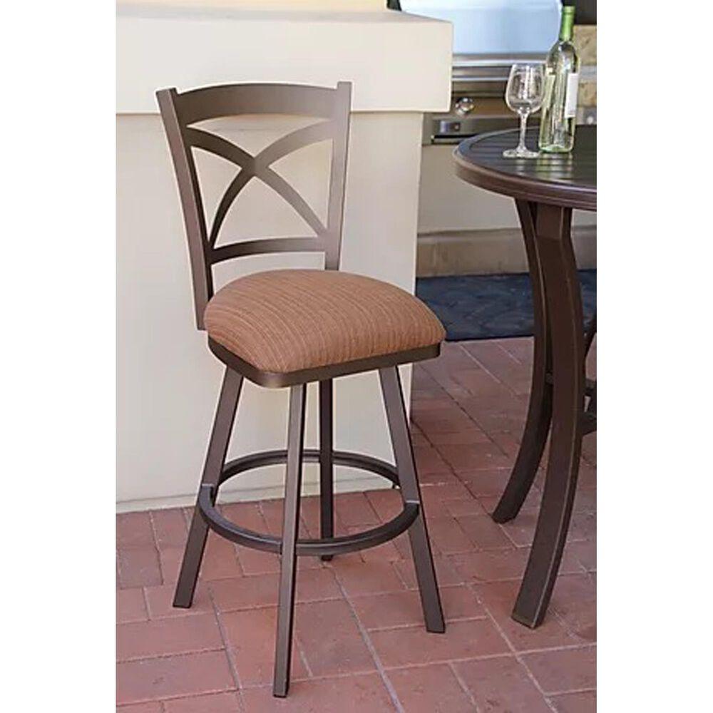 "Delaware Dining Edison 26"" Patio Swivel Barstool with Dupione Oak Seat in Sun Bronze, , large"