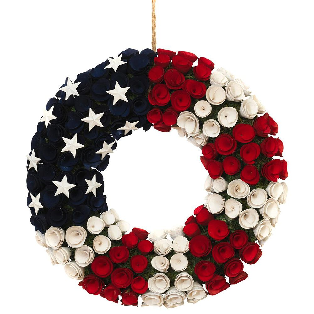 """The Gerson Company 21.5"""" Americana Flower Wreath, , large"""