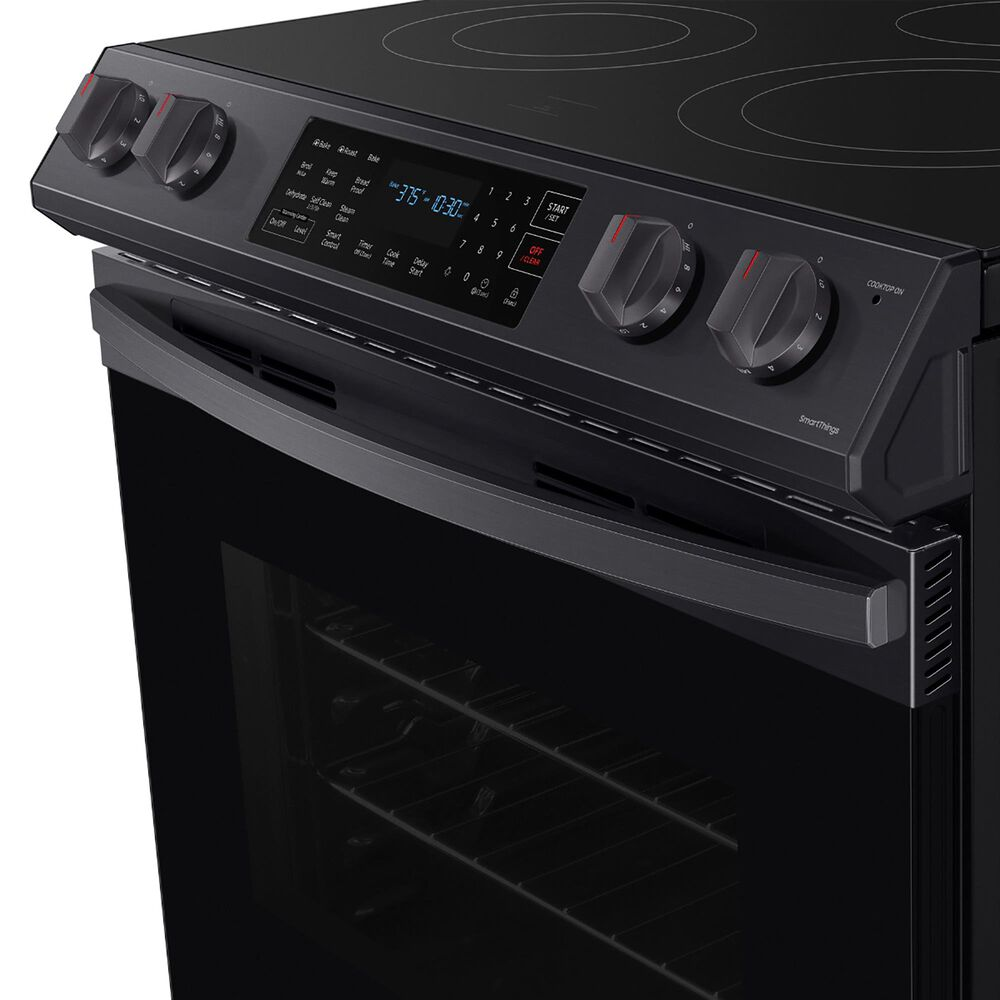 Samsung 6.3 Cu. Ft. Front Control Slide-in Electric Range with Convection and Wi-Fi in Black Stainless Steel, , large