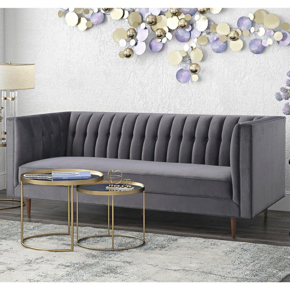 Tov Furniture Sebastian Velvet Sofa in Grey, , large