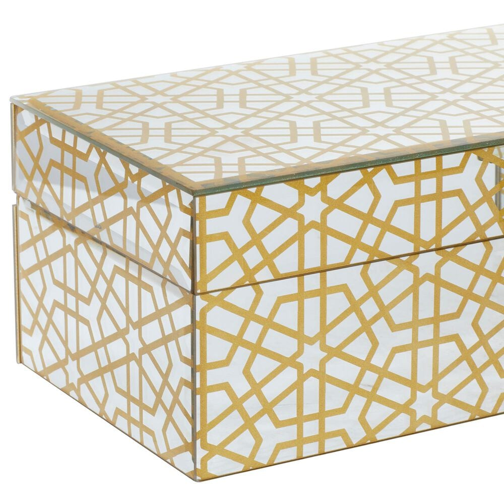 CosmoLiving by Cosmopolitan Glam Wood Jewelry Boxes in White and Gold (Set of 2) , , large