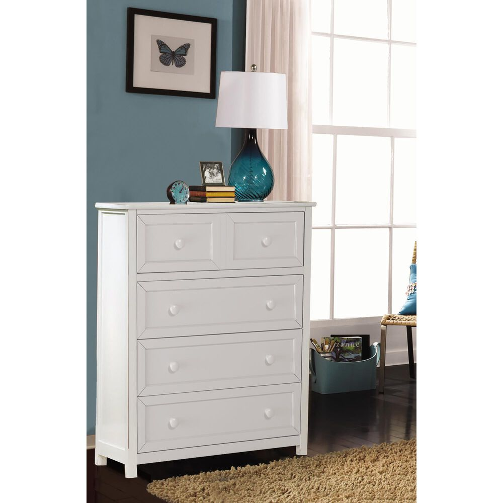 Richlands Furniture Schoolhouse 4 Drawer Chest in White, , large