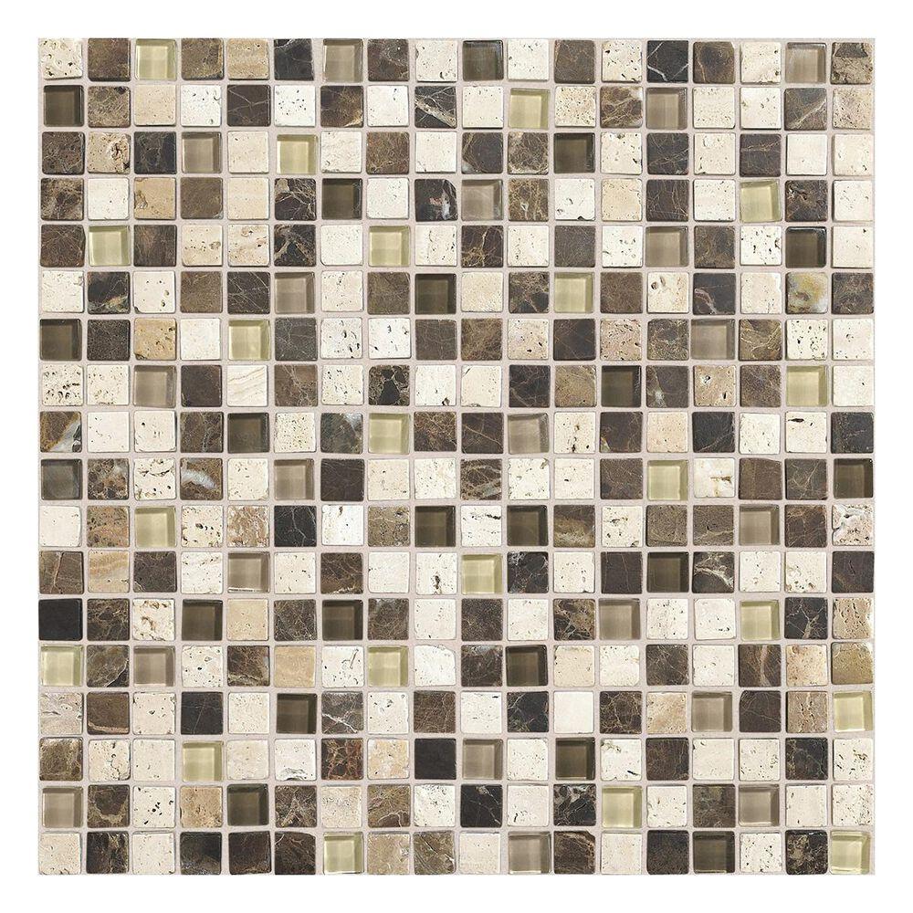 "Dal-Tile 5/8"" x 5/8"" Mosaic Tile in Morning Sun, Tortoise and Mushroom Blend, , large"