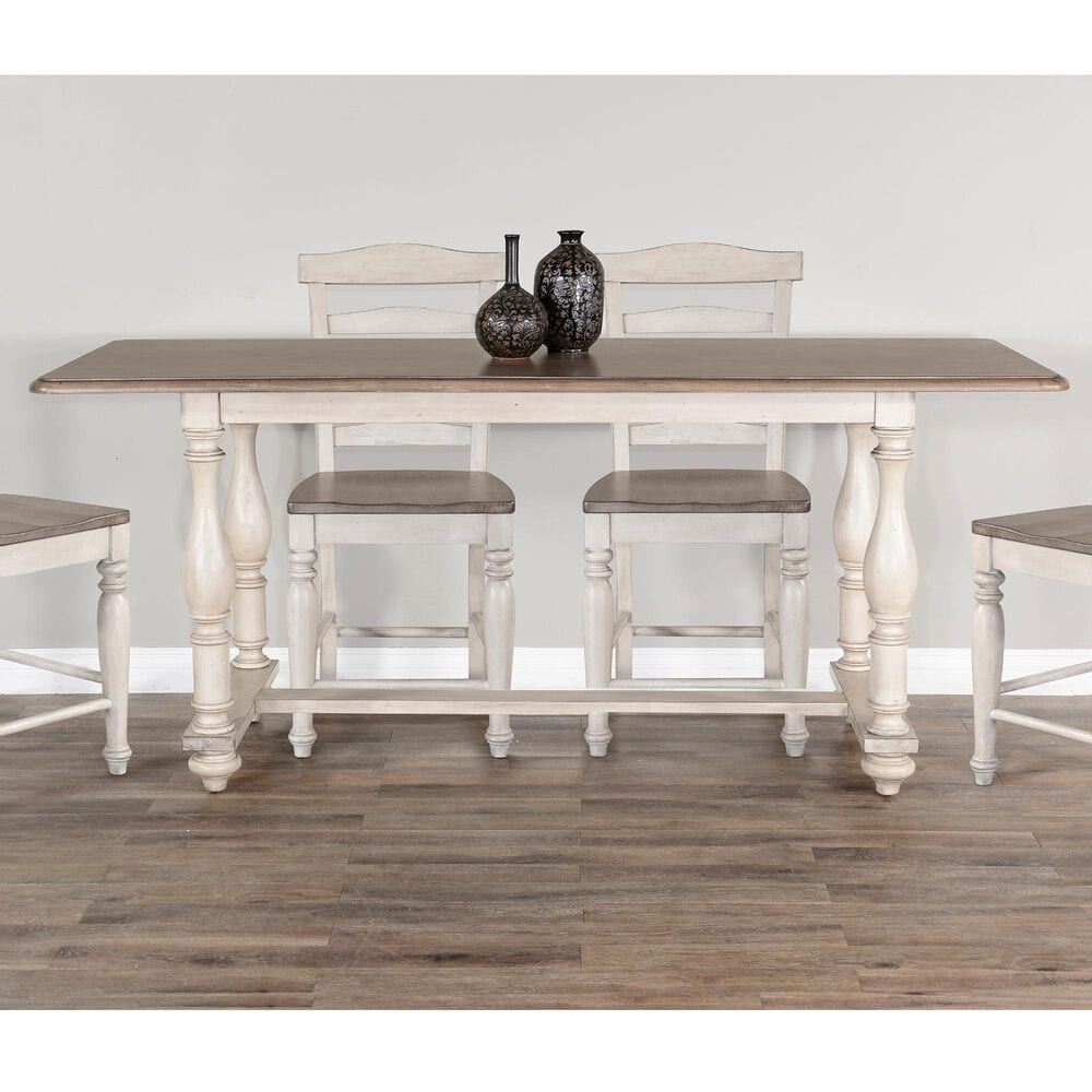 Sunny Designs Westwood Village Counter Height Dining Table in Antique White and Brown - Table Only, , large