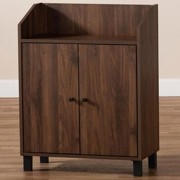 Baxton Studio Rossin 2-Door Entryway Shoe Storage Cabinet with Open Top Shelf in Walnut, , large