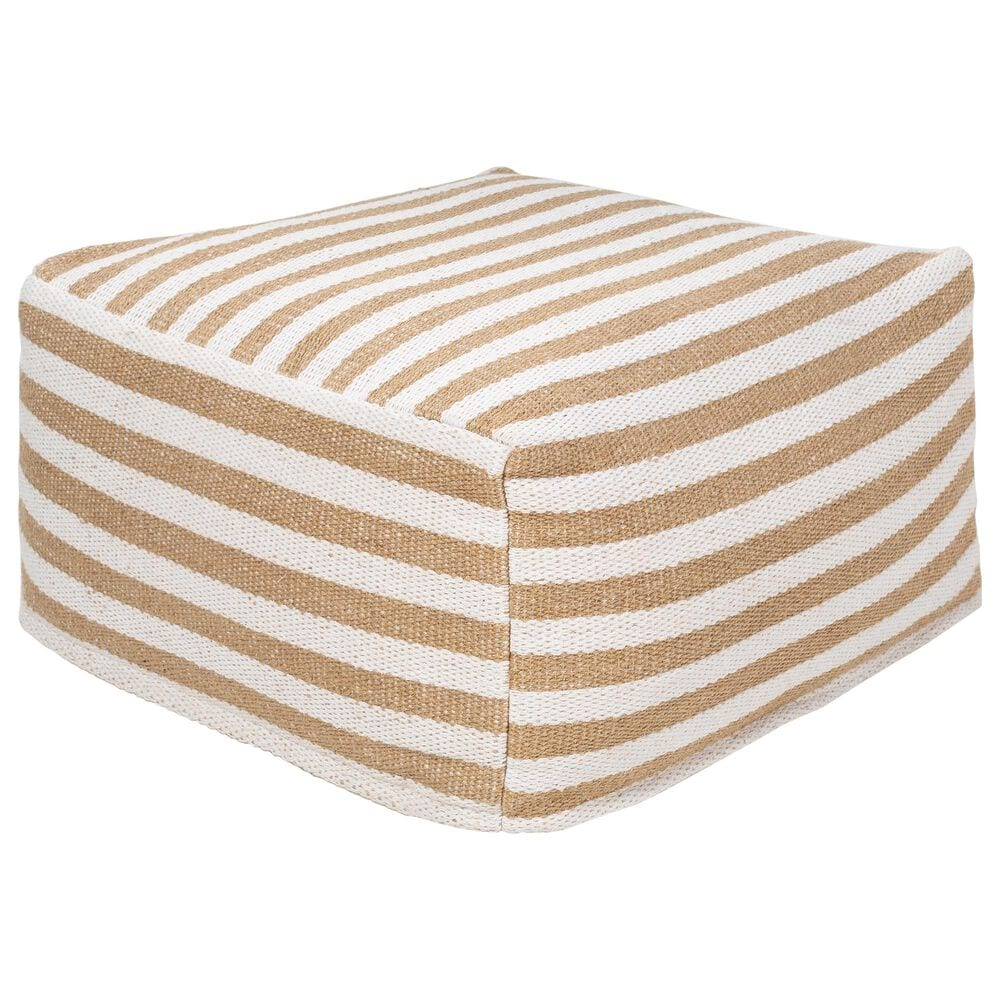 Surya Inc Palmetto Pouf in Camel/White, , large