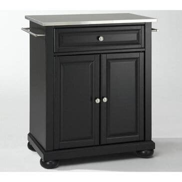 Crosley Furniture Alexandria Stainless Steel Top Portable Kitchen Island in Black, , large