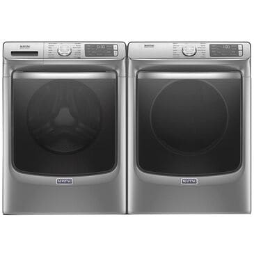 Maytag 5.0 Cu. Ft. Front Load Washer with Steam and 7.3 Cu. Ft. Electric Dryer in Metallic Slate, , large