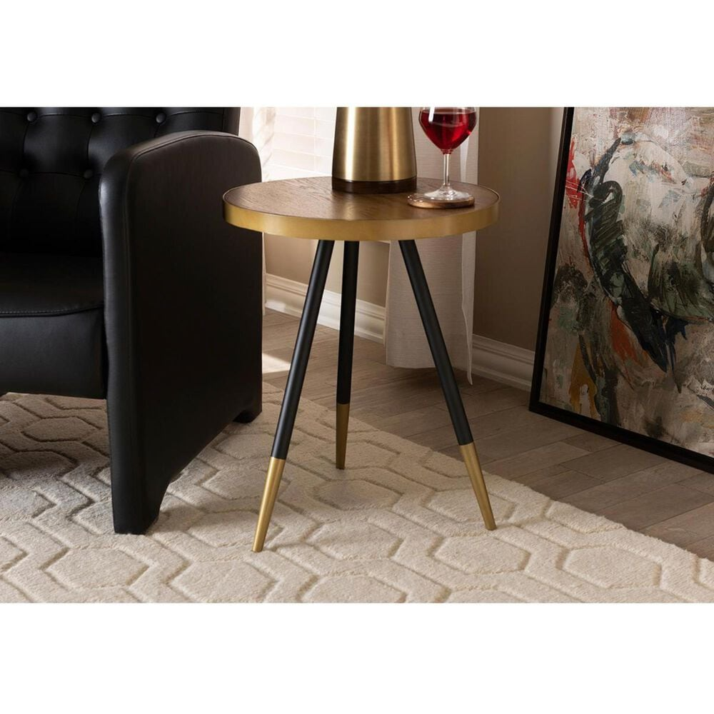 Baxton Studio Lauro End Table in Walnut with Black and Gold, , large